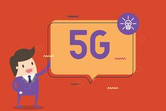 Text sign showing 5G. Conceptual photo Next generation of mobile networks after the 4G LTE Fast speed connection.  royalty free illustration