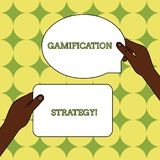 Text sign showing Gamification Strategy. Conceptual photo use Rewards for Motivation Integrate Game Mechanics Two Blank. Text sign showing Gamification Strategy royalty free illustration