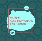 Text sign showing General Data Protection Regulation. Conceptual photo Information media security protective stock illustration
