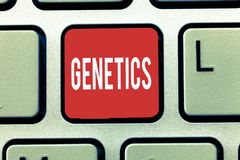 Text sign showing Genetics. Conceptual photo study of heredity and the variation of inherited characteristics.  royalty free stock images