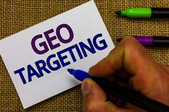 Text sign showing Geo Targeting. Conceptual photo Digital Ads Views IP Address Adwords Campaigns Location Man hand holding marker. White paper communicating stock image