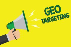 Text sign showing Geo Targeting. Conceptual photo Digital Ads Views IP Address Adwords Campaigns Location Man holding megaphone lo vector illustration