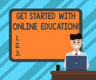 Text sign showing Get Started With Online Education. Conceptual photo Initiate Elearning modern learning Blank Bordered Board. Behind Man Sitting Smiling with vector illustration