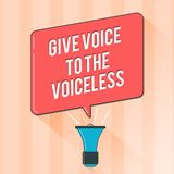 Text sign showing Give Voice To The Voiceless. Conceptual photo Speak out on Behalf Defend the Vulnerable.  stock illustration