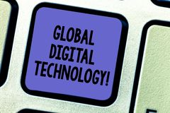 Text sign showing Global Digital Technology. Conceptual photo Digitized information in the form of numeric code Keyboard key. Intention to create computer stock photography