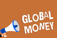 Text sign showing Global Money. Conceptual photo International finance World currency Transacted globally Man holding megaphone lo. Udspeaker orange background royalty free illustration