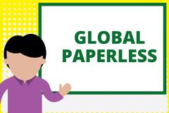 Text sign showing Global Paperless. Conceptual photo going for technology methods like email instead of paper Young man stock image
