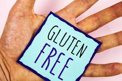 Text sign showing Gluten Free. Conceptual photos Diet with products not containing ingredients like wheat. Text sign showing Gluten Free. Conceptual photo Diet stock photos