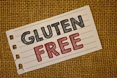Text sign showing Gluten Free. Conceptual photos Diet with products not containing ingredients like wheatNotebook page ideas messa. Text sign showing Gluten Free royalty free stock image
