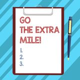 Text sign showing Go The Extra Mile. Conceptual photo Give an additional do more than is expected from you Blank Sheet. Of Bond Paper on Clipboard with Click vector illustration