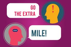 Text sign showing Go The Extra Mile. Conceptual photo Give an additional do more than is expected from you Messenger. Room with Chat Heads Speech Bubbles vector illustration