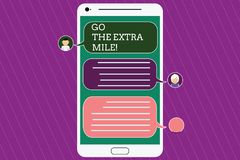 Text sign showing Go The Extra Mile. Conceptual photo Give an additional do more than is expected from you Mobile. Messenger Screen with Chat Heads and Blank stock illustration