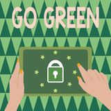 Text sign showing Go Green. Conceptual photo making more environmentally friendly decisions as reduce recycle.  stock photo