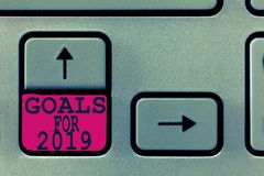 Text sign showing Goals For 2019. Conceptual photo The following things you want to have and achieve in 2019.  royalty free stock photo