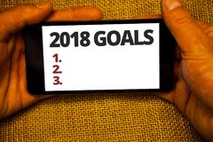 Text sign showing 2018 Goals 1. 2. 3.. Conceptual photo Resolution Organize Beginnings Future Plans Jute sack background hand hold. Ing iPhone with colorful stock photography