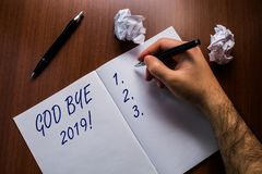 Text sign showing God Bye 2019. Conceptual photo express good wishes when parting or at the end of last year Upper close. Text sign showing God Bye 2019 royalty free stock images