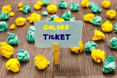 Text sign showing Golden Ticket. Conceptual photo Rain Check Access VIP Passport Box Office Seat Event Clothespin royalty free stock photography