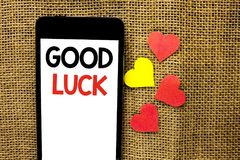 Text sign showing Good Luck. Conceptual photo Lucky Greeting Wish Fortune Chance Success Feelings Blissful written on Cardboard Pi. Text sign showing Good Luck Stock Image