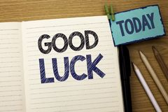 Text sign showing Good Luck. Conceptual photo Lucky Greeting Wish Fortune Chance Success Feelings Blissful written on Notebook Boo. Text sign showing Good Luck Royalty Free Stock Images