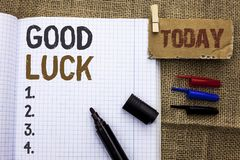 Text sign showing Good Luck. Conceptual photo Lucky Greeting Wish Fortune Chance Success Feelings Blissful written on Notebook Boo. Text sign showing Good Luck Stock Images