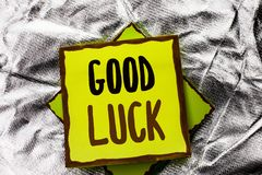 Text sign showing Good Luck. Conceptual photo Lucky Greeting Wish Fortune Chance Success Feelings Blissful written on Stacked Stic. Text sign showing Good Luck Royalty Free Stock Photos