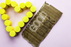 Text sign showing Good Luck. Conceptual photo Lucky Greeting Wish Fortune Chance Success Feelings Blissful written on Tear Cardboa. Text sign showing Good Luck Royalty Free Stock Images