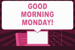 Text sign showing Good Morning Monday. Conceptual photo Happy Positivity Energetic Breakfast. Text sign showing Good Morning Monday. Business photo text Happy royalty free illustration