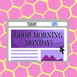 Text sign showing Good Morning Monday. Conceptual photo Happy Positivity Energetic Breakfast. Text sign showing Good Morning Monday. Business photo text Happy stock illustration