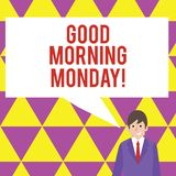 Text sign showing Good Morning Monday. Conceptual photo Happy Positivity Energetic Breakfast. Text sign showing Good Morning Monday. Business photo showcasing royalty free illustration
