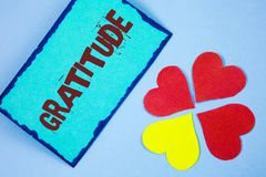 Text sign showing Gratitude. Conceptual photo Quality of being thankful Appreciation Thankfulness Acknowledge written on Sticky No. Text sign showing Gratitude Royalty Free Stock Photos