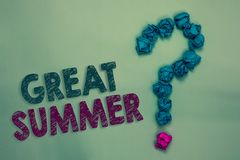 Text sign showing Great Summer. Conceptual photo Having Fun Good Sunshine Going to the beach Enjoying outdoor Crumpled papers form. Ing question mark several royalty free stock photo