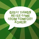 Text sign showing Great Things Never Came From Comfort Zones. Conceptual photo Inspiration to try new ways Blank Oval Shape Speech. Bubble in solid Color and vector illustration