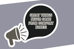 Text sign showing Great Things Never Came From Comfort Zones. Conceptual photo Inspiration to try new ways Megaphone. With Loudness icon and Blank Speech Bubble vector illustration