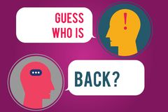 Text sign showing Guess Who Is Back. Conceptual photo Game surprise asking wondering curiosity question Messenger Room. With Chat Heads Speech Bubbles royalty free illustration