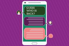 Text sign showing Guess Who Is Back. Conceptual photo Game surprise asking wondering curiosity question Mobile Messenger. Screen with Chat Heads and Blank Color vector illustration