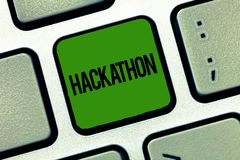 Text sign showing Hackathon. Conceptual photo event where large number of showing engage in programming stock photo
