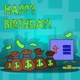 Text sign showing Happy Birthday. Conceptual photo Congratulations Celebrating Anniversary. Text sign showing Happy Birthday. Business photo text Congratulations stock photo