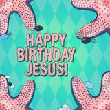 Text sign showing Happy Birthday Jesus. Conceptual photo Celebrating the birth of the holy God Christmas Day Starfish royalty free illustration