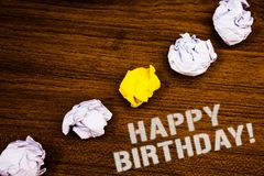 Text sign showing Happy Birthday Motivational Call. Conceptual photo Congratulations Celebrating Anniversary Ideas concepts words. On wooden background crumpled royalty free stock photo