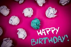 Text sign showing Happy Birthday Motivational Call. Conceptual photo Congratulations Celebrating Anniversary Ideas white blue lett. Ers pink background crumpled stock photos