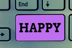 Text sign showing Happy. Conceptual photo Feeling or showing pleasure contentment about something person.  stock photos