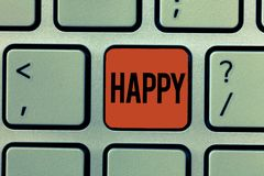 Text sign showing Happy. Conceptual photo Feeling or showing pleasure contentment about something person.  stock images