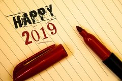 Text sign showing Happy 2019. Conceptual photos New Year Celebration Cheers Congrats Motivational MessageIdeas messages created on. Text sign showing Happy 2019 Stock Photo