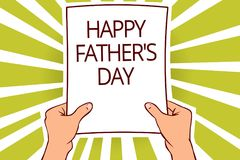 Text sign showing Happy Father s is Day. Conceptual photo time of year to celebrate fathers all over the world Paper page capital. Reporting cardboards placards vector illustration