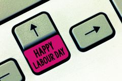 Text sign showing Happy Labour Day. Conceptual photo annual holiday to celebrate the achievements of workers.  royalty free stock photos