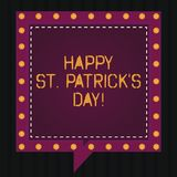 Text sign showing Happy St Patrick S Is Day. Conceptual photo Ireland celebration green lucky charms and clovers Square Speech stock image