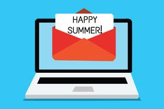 Text sign showing Happy Summer. Conceptual photo Beaches Sunshine Relaxation Warm Sunny Season Solstice Computer. Receiving email important message envelope vector illustration
