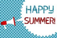 Text sign showing Happy Summer. Conceptual photo Beaches Sunshine Relaxation Warm Sunny Season Solstice Megaphone. Loudspeaker speech bubble message blue vector illustration