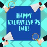 Text sign showing Happy Valentine S Is Day. Conceptual photo when lovers express their affection with greetings Hu analysis Hands. Each Holding Magnifying Glass vector illustration