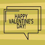 Text sign showing Happy Valentine S Is Day. Conceptual photo when lovers express their affection with greetings Rectangular. Outline Transparent Comic Speech stock illustration